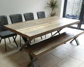 aa74dac3c8 Chunky Industrial Reclaimed Pine X Leg Frame Base Dining Table. Steel Metal  Silver Solid Rustic Wood Restaurant Bar Office Desk