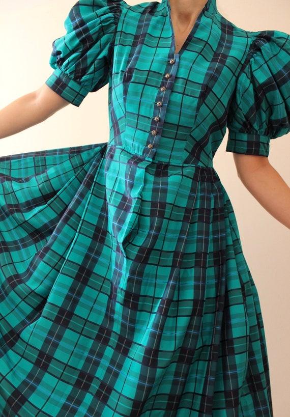 Vintage Puff Sleeve Tartan Dress | Vintage Austri… - image 3
