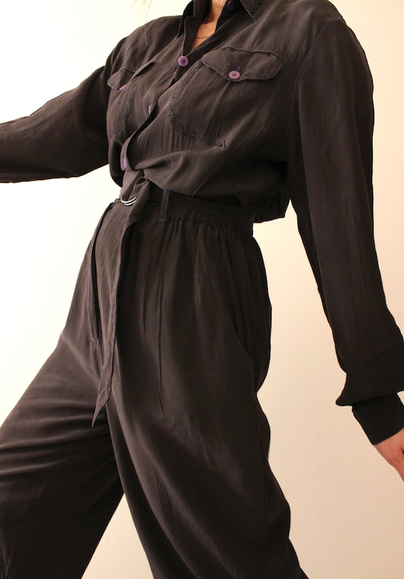 Pure Silk Vintage 80s Black Jumpsuit | 1980s Long