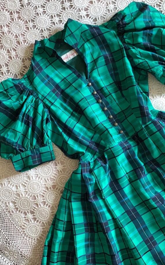 Vintage Puff Sleeve Tartan Dress | Vintage Austri… - image 7