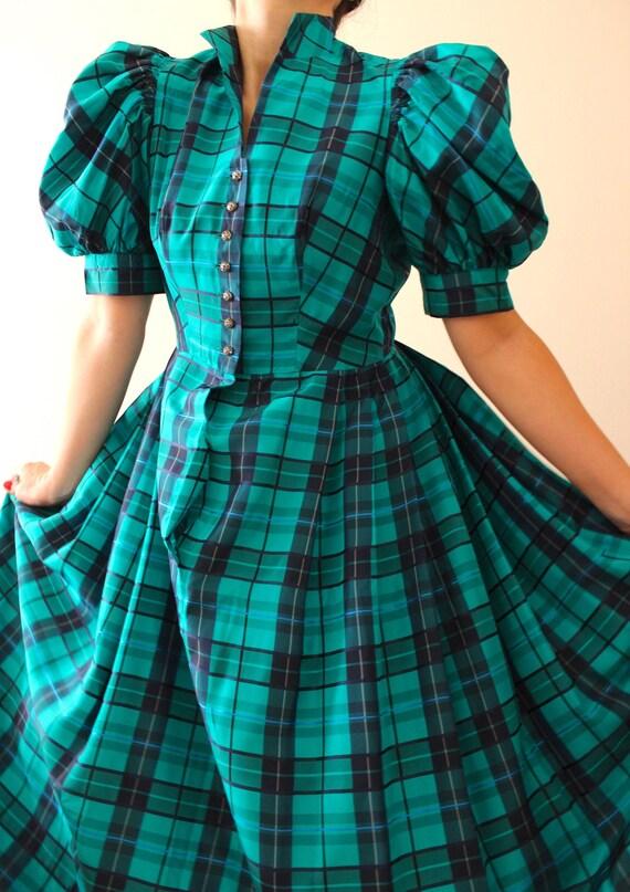Vintage Puff Sleeve Tartan Dress | Vintage Austri… - image 5