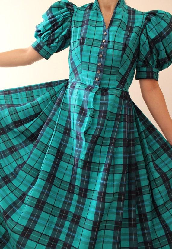 Vintage Puff Sleeve Tartan Dress | Vintage Austria