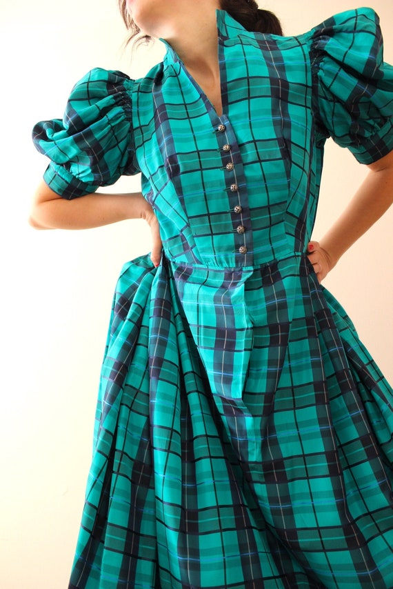 Vintage Puff Sleeve Tartan Dress | Vintage Austri… - image 6