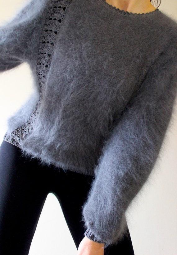 Vintage Grey Angora Sweater |  Vintage Angora Jump