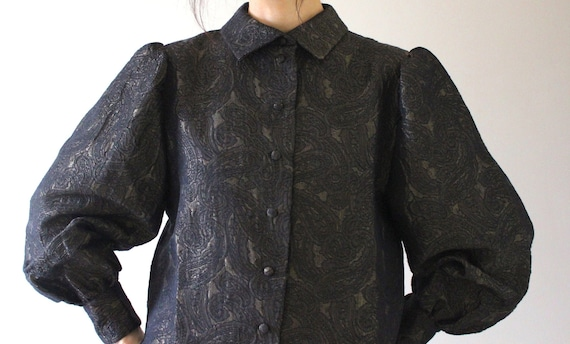 RARE 80s Vintage Tailored Brocade Blouse | Puff Sl