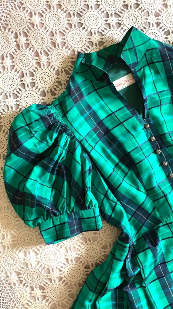 Vintage Puff Sleeve Tartan Dress | Vintage Austri… - image 2