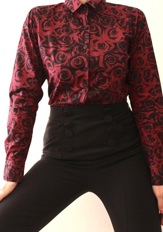 Vintage Agnès B Roses Shirt for Women | Long Sleev