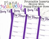 Printable Skinny Mini Grocery Meal Prep Daily Half Sheets for Mini Happy Planner - Print Double-Sided - PDF Printer Ready for your Planner!