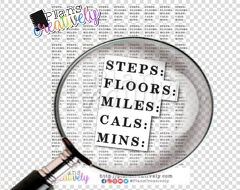 Printable Fitness Tracker Planner Stickers - Fitness stats for your planner. No need to keep writing it in - Track steps, calories, etc.