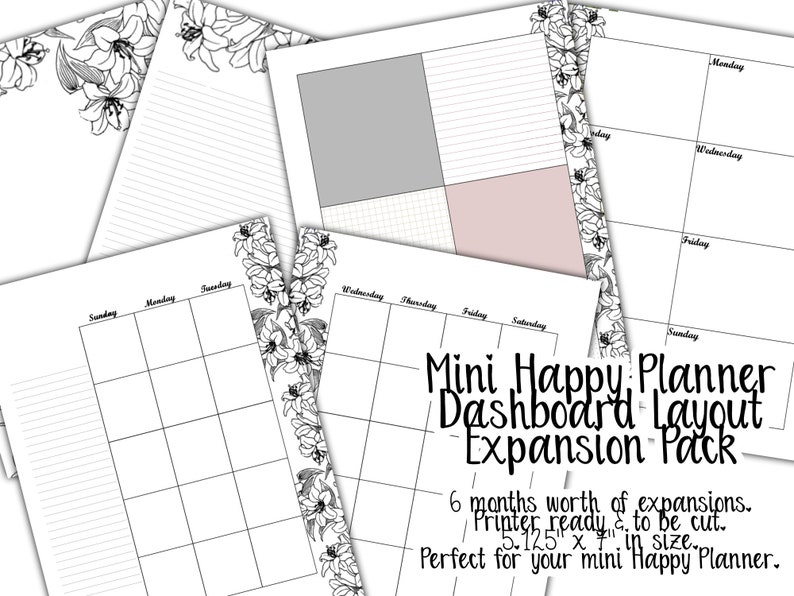 Mini Happy Planner Dashboard Layout Expansion Pack Insert  image 0