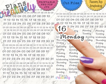 Printable Planner Date & Day of the Week Stickers  - Perfect for Re-Dating Changing Outdated Planners! Planner Date Stickers