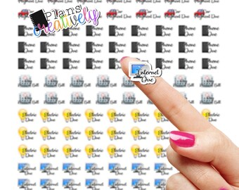 Printable Common Bill, Payment Due Planner Stickers - Electric, Car, Internet, Phone Payment - Tiny Planner Stickers for budget planners