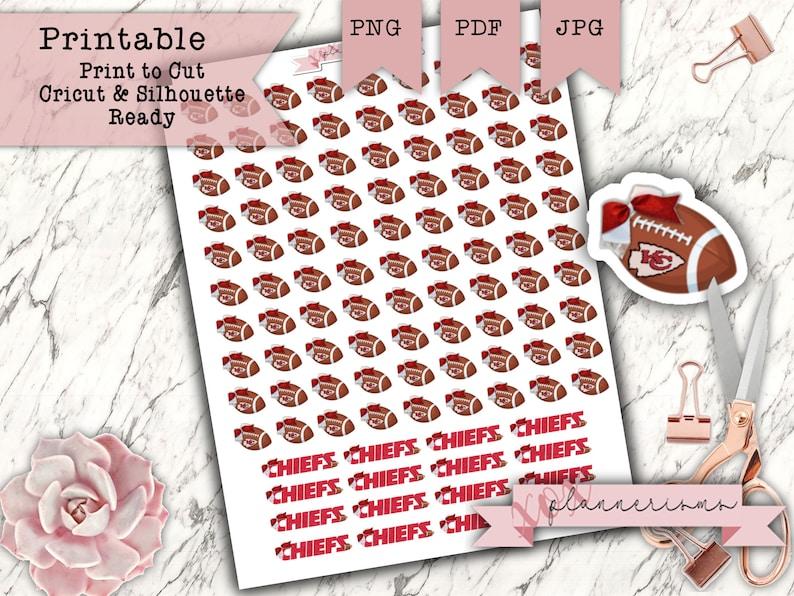 65 Football Chiefs Stickers Printable  Kansas City Football image 0