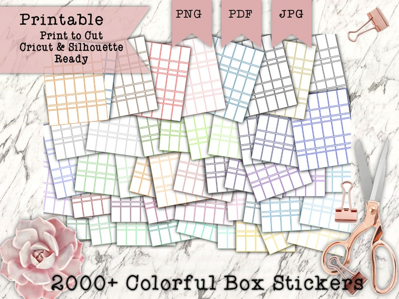 2100 Colorful Boxes Printable Planner Stickers  Over 50 image 0