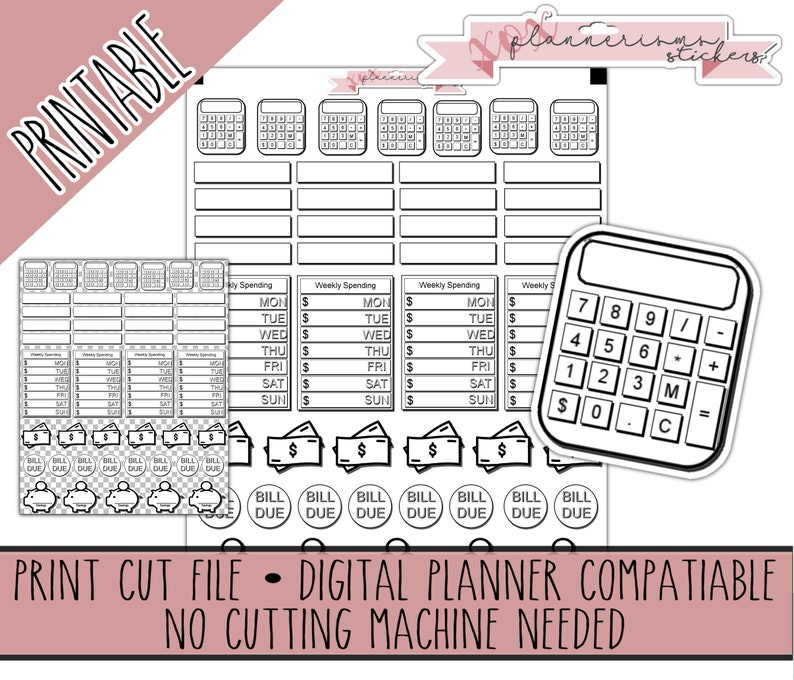 46 Printable Doodle Budgeting Stickers  Budget Printable image 0