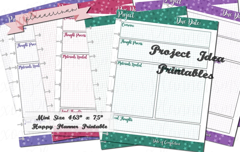 Project List Inserts for Mini Happy Planner  Project planner image 0