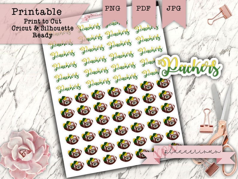 65 Packer Football Planner Stickers Printable  Green Bay image 0