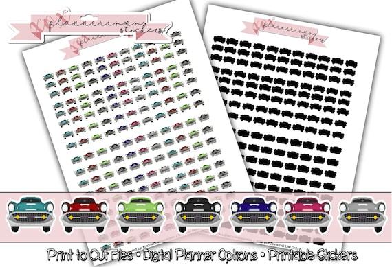 Classic Show Car Planner Stickers Printable Car Sticker Cricut Ready Print Cut Files Erin Condren Happy Planner Mambi Stickers