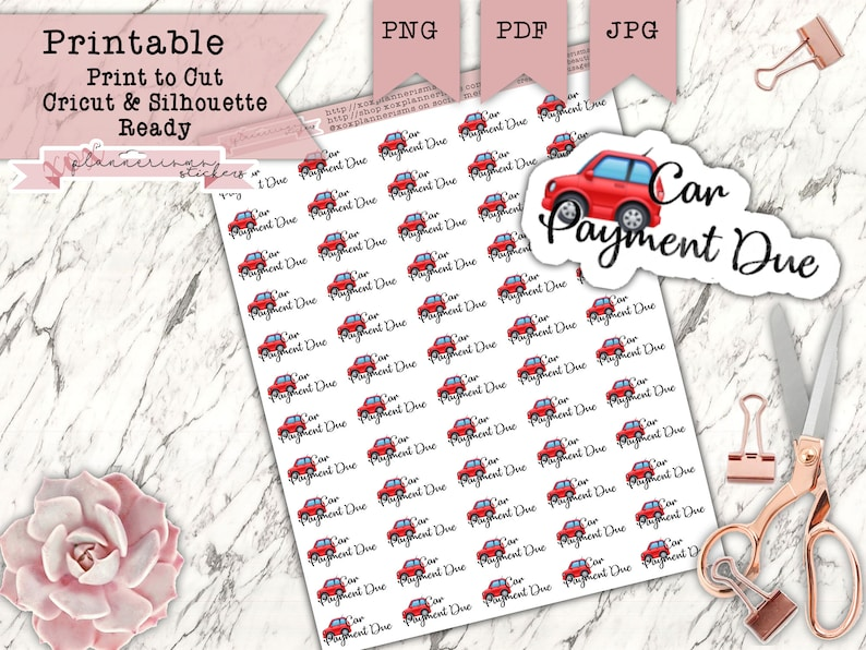 60 Car Payment Planner Stickers  Bill Reminder Payment Due  image 0