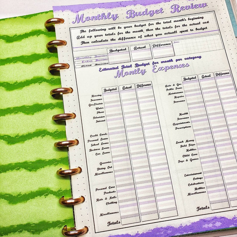 45 Page Happy Planner Budget Insert Set  Classic Size  image 0