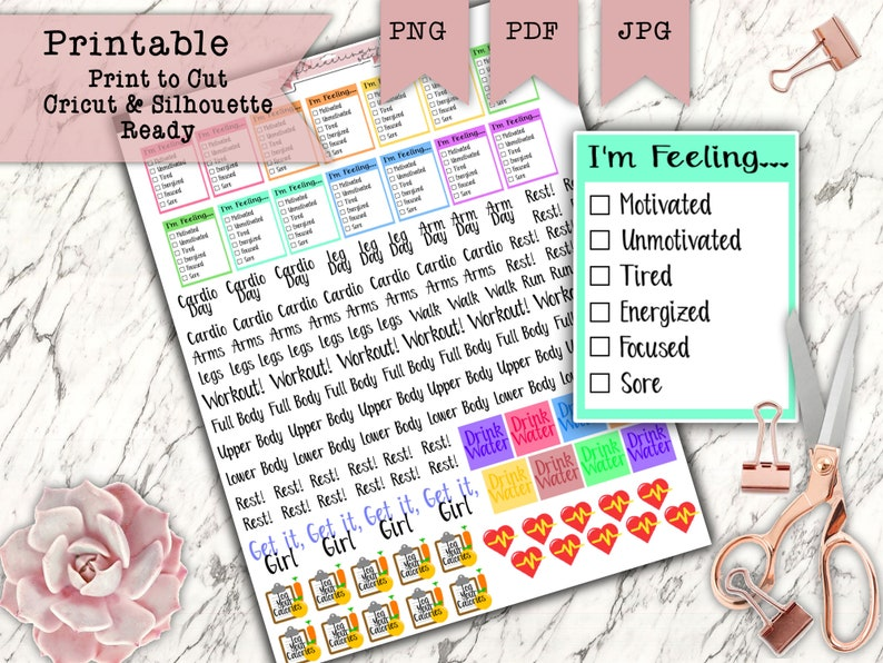 130 Printable Planner Fitness Sticker Set  Weight Loss image 0