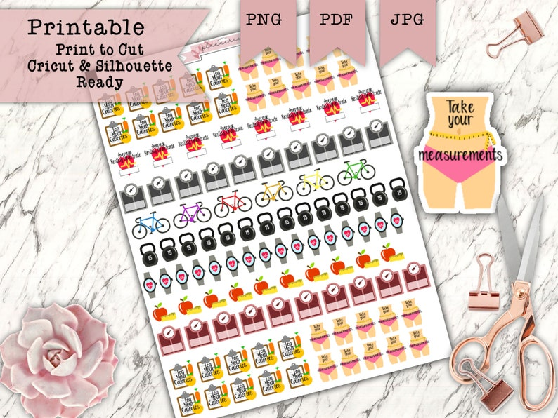 120 Printable Planner Fitness Sticker Set  Weight Loss image 0