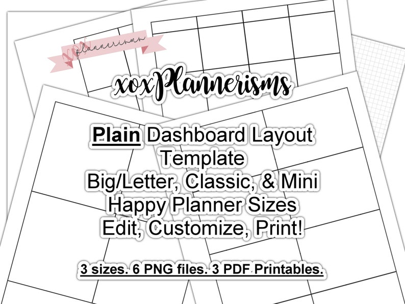 Printable Dashboard Planner Template  Custom Blank Printable image 0