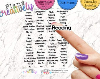 Printable Grade School Subjects Planner Sticker • Printable Elementary School Homeschooling Subjects - Virtual Learning and Homeschooling