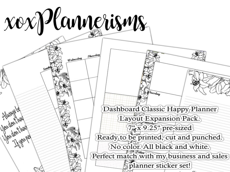 Printable Dashboard Planner CLASSIC SIZE Monthly/Weekly Happy image 0