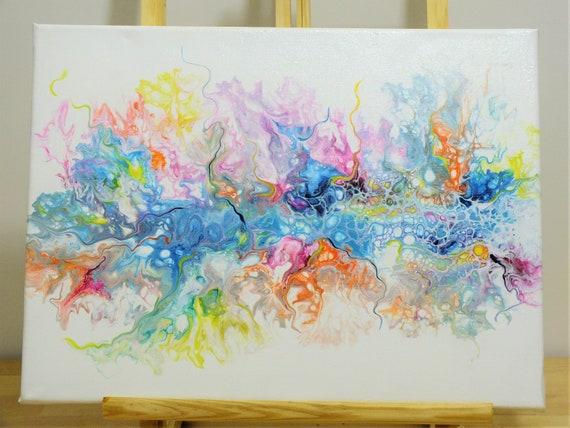 Rainbow Explosion Weaved Acrylic Painting