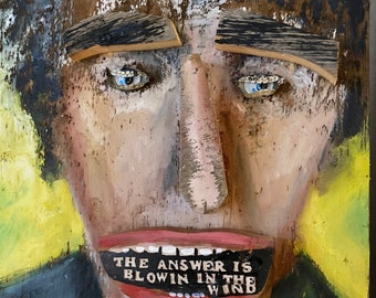 Bob Dylan Folk Art on Barnwood