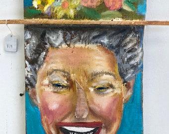 Minnie Pearl Oil on Wood 3D Portrait