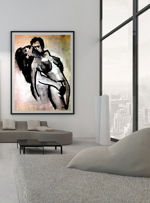 Feeling black and white drawing on textured linen paper Limited edition 1-100 pcs.