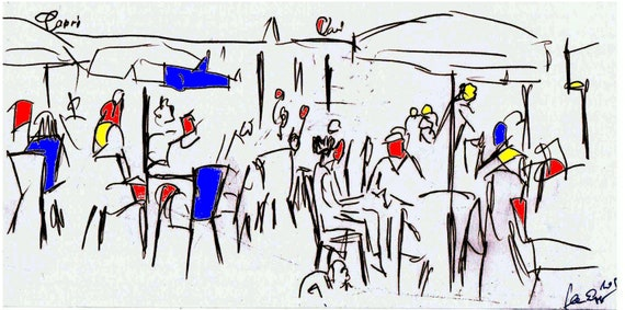 Cafe scene, black and white drawing on acrylic glass plate limited edition 1-100