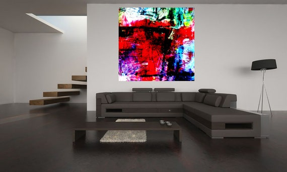 Abstract composition RED Limited Edition 1-100 Stck.Art of acrylic painting Contemporary Art