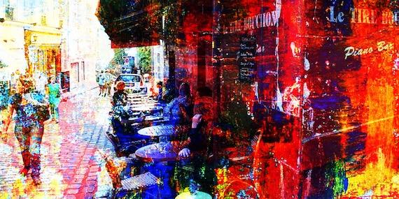 Cafeszene Montmartre Paris Modern acrylic painting dramfolistically Limited Edition 1-100 Contemporary Art