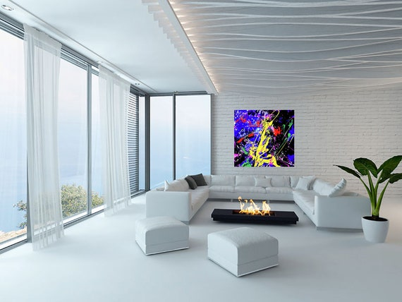 ABSTRAKTE KOMPOSITION Blue K11 Limited Edition 1-100 stilt reproduction on 5 mm acrylic glass plate Contemporary Art