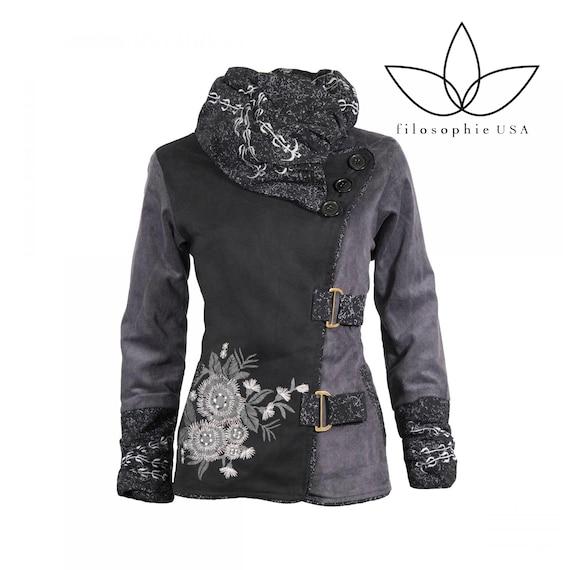 Gray/Black Jacket / Floral Black Jacket/Bohemian Flower Jacket/ Women Black Jacket / Boho Cotton Peacoat Eve Hippie   Black Jacket for Women
