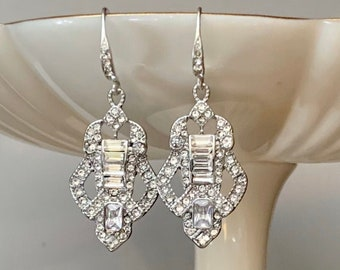 Vintage Earrings Sterling SilverArt Deco 192030/'s retro earringswedding giftmothers giftstud earringsTriangle earringsboxed earrings