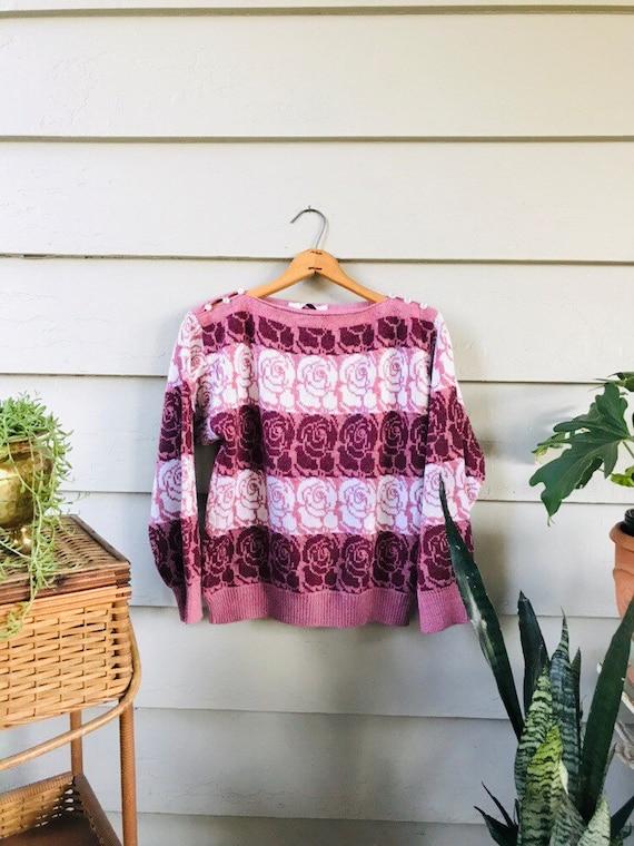 80s Rose Print Sweater