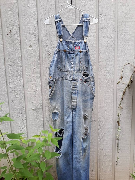 Unisex Destroyed Dickies Carpenter  Overalls Size