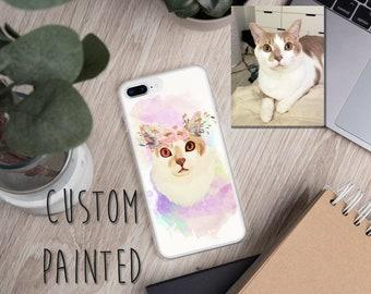 c792cfacd46f Custom Cat Pet Portrait iPhone Phone Case - Flower Crown Kitty - XR - XS  Max - XS - X - 8 - 8Plus - 7 - 7Plus - 6s - 6s Plus 6 - 6 Plus