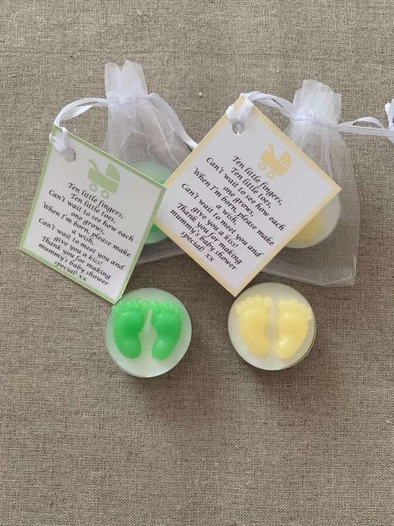 BLUE WH GORGEOUS CUTE BABY SHOWER CANDLE FAVOURS WITH SCENTED CANDLES PINK