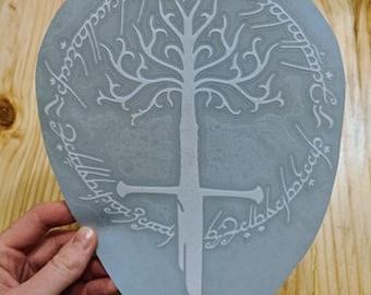 Lord of the Rings LOTR Tree of Gondor Sword of Narsil Shards of Narsil Elvish Script Vinyl Decal Sticker