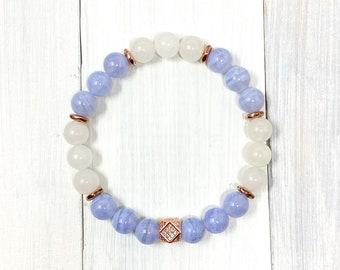 8mm Blue Lace Agate Bracelet, Crazy Lace Agate Bracelet, Quartzite Bracelet, Beautiful Stretch Bracelet, Rose Gold Bracelet, Micropave