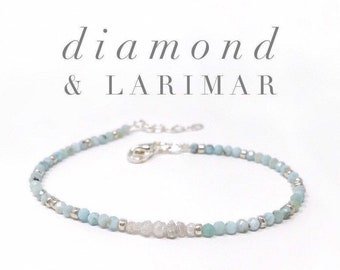 Diamond and Larimar Bracelet, Diamond Bracelet, Larimar Bracelet, Dainty Diamond Bracelet, April Birthstone Bracelet