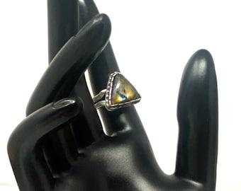 15mm Labradorite Ring, Statement Ring, Triangular Ring, Antique Silver Ring, Adjustable Labradorite Ring, Unique Ring