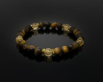8mm Tiger's Eye and Citrine Bracelet, Healing Bracelet, Birthstone Bracelet, November Birthstone, Crystal Bracelet