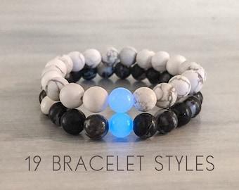 Distance Bracelet Set with Glowing Quartz, Couples Bracelet, Matching Distance Bracelets, Couples Gemstone Bracelet Set, Mix and Match