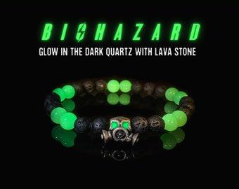 Glow in the Dark Biohazard Bracelet, Fallout Bracelet, Fallout Gifts, Glowing Bracelet, Gas Mask Bracelet, Pandemic Bracelet